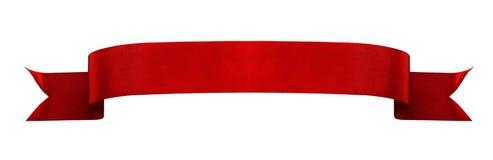 Bannière rouge de ruban de satin Photo libre de droits