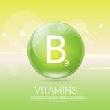 Bannière saine de concept de la vie des vitamines B9 avec l'espace de copie Photo libre de droits