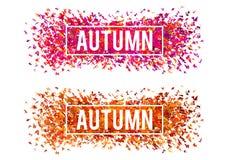 Bannières d'automne, ensemble de vecteur Images stock