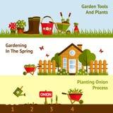 Bannières de jardinage réglées Photos stock