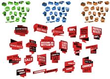 Bannières et calibres d'origami réglés Photo stock