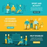 Bannières horizontales handicapées par couleur plate Photographie stock libre de droits