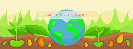 Bannner Concept Ecology Greening Planet. Save green planet, plants growing on fertile soil. Conceptual banner protection and care for planet earth. Nature Stock Photography