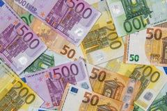 Bannotes euro como fondo Imágenes de archivo libres de regalías