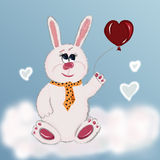 Banny with heart. Love bunny holding a balloon heart Stock Photos