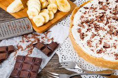 Banoffee with banana, decorated by chocolate, authentic english Stock Image