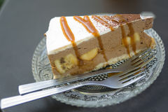 Banoffee cake. Preparing for one serve royalty free stock photography
