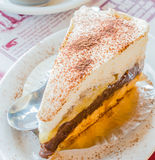 Banoffee cake. In white dish Royalty Free Stock Photography