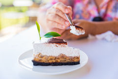 Banoffee pie cakes with green tea Royalty Free Stock Images