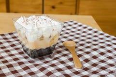Banoffee pie in plastic cup Stock Photos