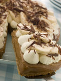 Banoffee Pie With A Slice Being Taken Royalty Free Stock Image