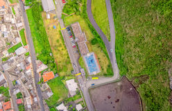 Banos de Agua Santa λατινοαμερικάνικη πόλη, εναέρια άποψη, Ισημερινός Στοκ Εικόνες