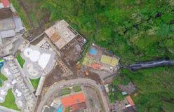 Banos De Agua Santa Aerial Telephoto, Ecuador Fotografía de archivo libre de regalías