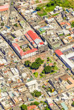 Banos De Agua Santa centrum miasta anteny strzał Zdjęcia Stock