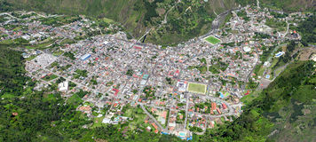 Banos De Agua Santa City Aerial Shot. From Full Size Helicopter High Altitude Panoramic Stitched Images Tungurahua Province Ecuador Stock Image