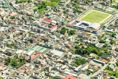 Banos De Agua Santa City Center Aerial Shot lizenzfreies stockbild