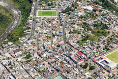 Banos De Agua Santa City Center Aerial Shot royaltyfri foto