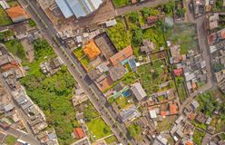 Banos De Agua Santa Drone Neighborhood View, Ecuador royalty free stock images