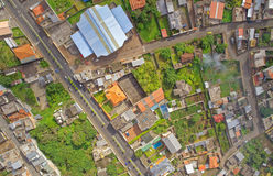 Banos De Agua Santa Drone Suburbs View, Ecuador Stockfoto