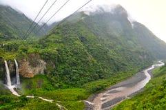 Banos de Agua Santa, Ecuador. Waterfall Manto de la Novia in Banos de Agua Santa, Ecuador royalty free stock images