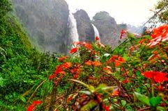 Banos de Agua Santa, Ecuador. Waterfall Manto de la Novia in Banos de Agua Santa, Ecuador stock images