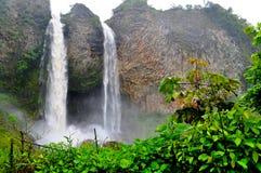 Banos de Agua Santa, Ecuador. Waterfall Manto de la Novia in Banos de Agua Santa, Ecuador royalty free stock photos