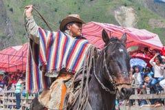 Banos de Aqua Santa, Tungurahua, Ecuador, novembre 2014, giovani uomini latini si è vestito in costumi nazionali che montano un c Immagini Stock Libere da Diritti