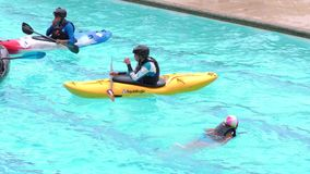 Kayak Water Ball Game In Santa Ana Pool For Summer Contest