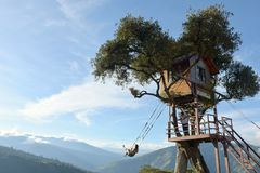 The Tree House In Banos De Aqua Santa, Ecuador, South America. Banos, Ecuador - November 22, 2017: The Swing At The End Of The World Located At Casa Del Arbol Stock Images