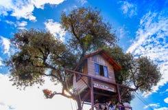 BANOS, EQUADOR, AGOSTO, 17, 2018: O balanço na extremidade do mundo situado na casa Del Arbol, a casa na árvore em Banos fotografia de stock royalty free