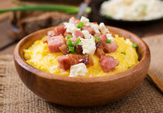 Banosh - Ukrainian Hutsul meal (maize porridge) with bacon Stock Photos