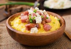 Banosh - Ukrainian Hutsul meal (maize porridge) with bacon Stock Photos
