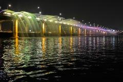 Banpo Bridge with colorful fountain show. Banpo bridge on the Han river is the place that shows the special event, colorful fountain show. People in Korea often Stock Photo