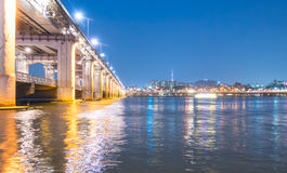 Banpo Bridge leading to north side of Seoul city.  Stock Image