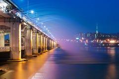 Banpo bridge rainbow fountain show at night in Seoul, Soth Korea Stock Photos