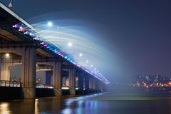 Banpo Bridge in Seoul, South Korea, at night stock image