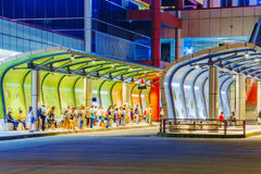Banqiao bus station at night. TAIPEI, TAIWAN - JUNE 08: This is a view of the Banqiao bus station a popular and busy bus station in the New Taipei area on June Stock Images