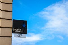 Banque Courtois Logo on their main office in Bordeaux.  Banque Courtois is the oldest French bank. Picture of Banque Courtois sign on their headquarters in Royalty Free Stock Photos