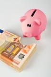 Banque de pièce de monnaie porcine mangeant la pile d'euro de fifity Images libres de droits