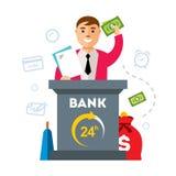 Banque de vecteur, agent de finances Illustration colorée de bande dessinée de style plat illustration stock