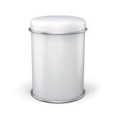 Banque en métal blanc pour le thé sur le fond blanc Photos stock