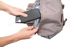 Banque et smartphone de puissance photo libre de droits
