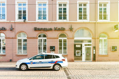 Banque Kolb France and poolice municipale car patrol Royalty Free Stock Photography