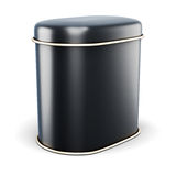 Banque noire en métal pour les produits secs sur le fond blanc Image stock