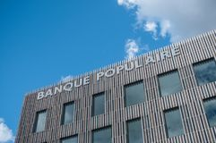 Banque Populaire的总部的外部门面在牟罗兹 免版税库存照片