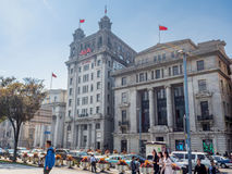 Banque privilégiée, actualités AIA de journal de Chine du Nord et édifices bancaires de Taïwan juste vers la gauche Photo libre de droits