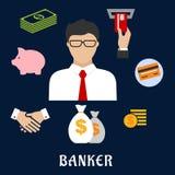 Banquero e iconos planos financieros Imágenes de archivo libres de regalías