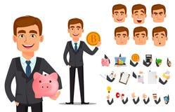 Banquero hermoso en traje de negocios ilustración del vector