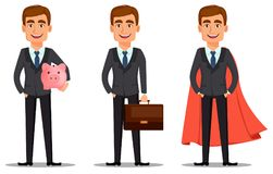 Banquero hermoso en traje de negocios stock de ilustración