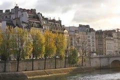 Banques de la Seine, matin tôt d'automne images libres de droits